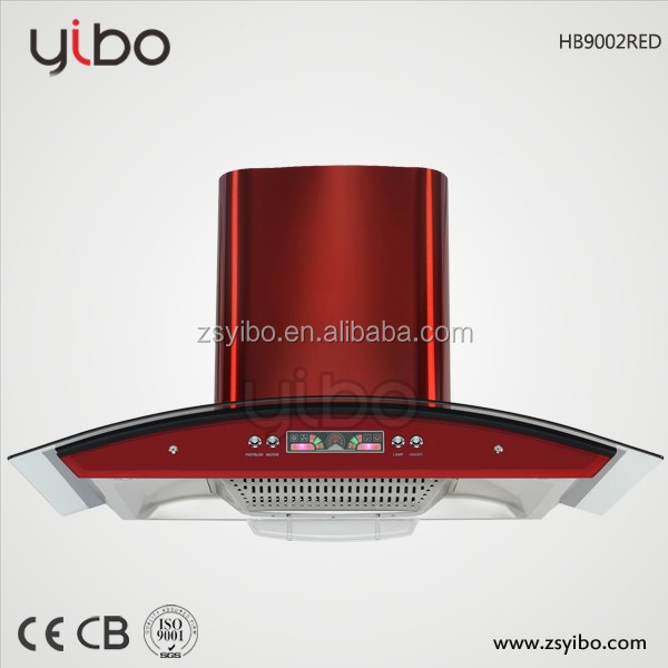 Red chimney and push button design 90cm boat filter range hood