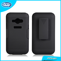Competitive factory tough shockproof plastic pc holster cover case for samsung j1 ace for cell phone stand
