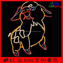 China rope 2d zoadic pig shapes outdoor christmas decoration motif light