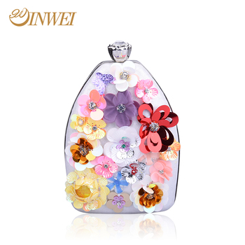 2017 latest design girl handbags evening bag with flowers