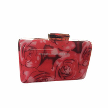Rose Flower Decoration Ladies Acrylic Evening Clutch Bags