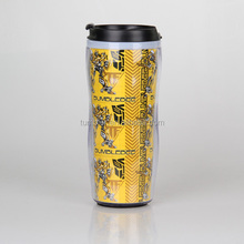 Sublimation gift high grade plastic double wall tumbler with DIY paper insert