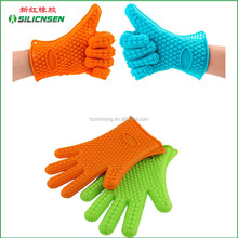 2016 amazon hot sale five finger silicone heat resistant bbq/grill gloves