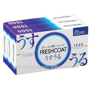 Japan Condom 'Uruoi Freshcoat 1500' --- inside top jelly-filled condom --- 12 x 3P