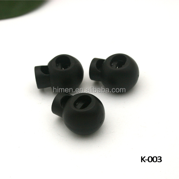 K-003 black plastic round ball cord lock toggles plastic spring stoppers for 7mm bungee shock cord