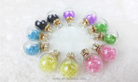 Multi-color Glass Ball With Crystal Inside Two Sides Earrings Zircon Stud Jewelry