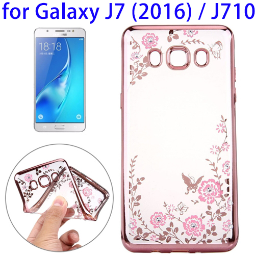 High Value Service Flowers Pattern Electroplating TPU Case for Samsung Galaxy J7 2016