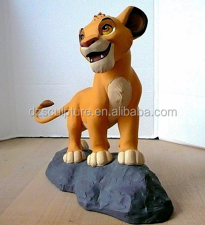Cartoon animal movie lovely polyresin life size small lion statue