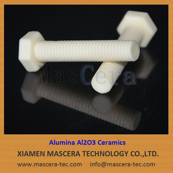 Customized Hex Head Alumina Al2O3 Ceramic Bolts Ceramic Threaded Rods