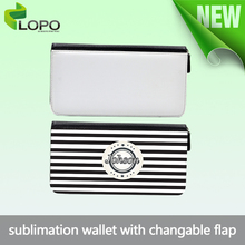 Sublimation PU leather wallet business Wallet Purse with changable flap