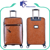 Fashionable travel trolley bag PU leather luggage bags