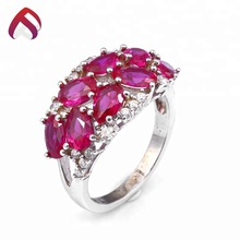 china manufacturer custom size white cz created ruby 925 sterling silver ring