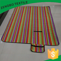 colorful stripe polyester polar fleece bonded with PE waterproof Picnic Blanket