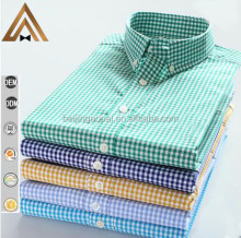 Chinese wholesale 6xl size 100% cotton green long sleeve new pattern check shirt for men