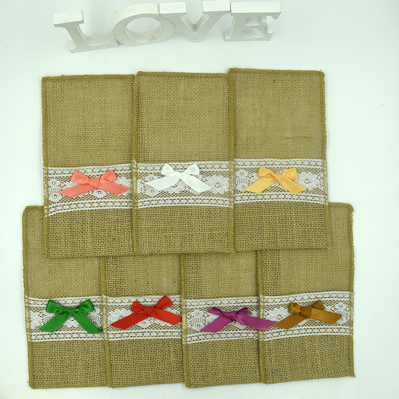 Wedding party table palcemat with cutlery pouch burlap fabric