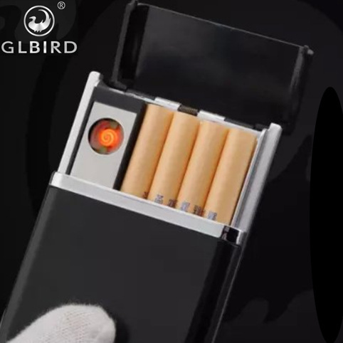 rechargeable usb lighter with cigarette case 8pcs designer cigarette box
