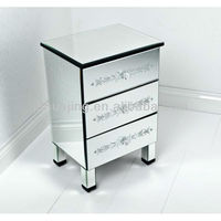 French Style 3 Drawer Etched Venetian Mirrored Furniture Beside Table/Night Stand/Etched Bevelled Chest of Drawers