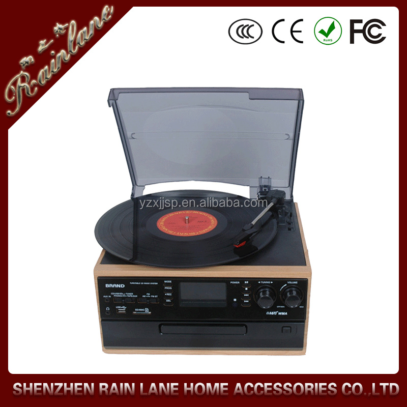 Classical Turntable with AM FM Radio CD Cassette/ USB Recorder,Professional phonograph