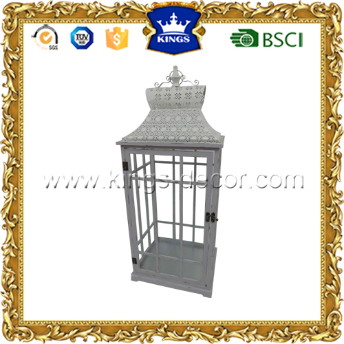 Large white wood wedding decoration cand lantern with metal top