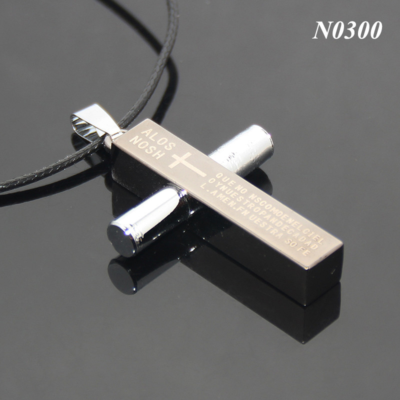 Mens Cross Pendant Necklace Stainless Steel Leather Rope Chain Necklace Statement Jewelry Metal Cross Necklace
