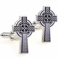 Black Stripes Enamel Epoxy Cross Cufflink Cuff Link