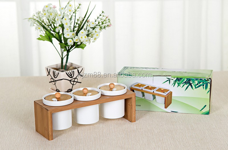 Eco-friendly 3 pcs bamboo ceramic canister set