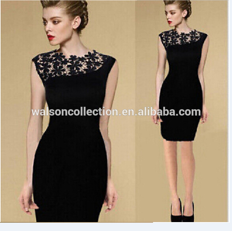 Walson hot sales Bestdress boutique 2015Woman Selveless Dress Sexy Embroidery Lace Dress boutique clubwear for women party bout