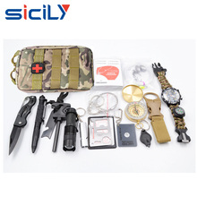 Survival Kit Contains 20 Lifesaving Emergency Tools backpack military, Outdoors Hiking Camping Disaster Military