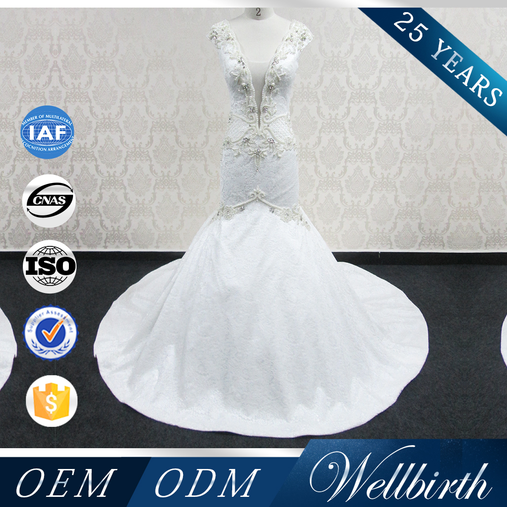 WD15 Factory Directly Sell sexy lady charming lady handmade bead crystal Bridal Mermaid Wedding Dress