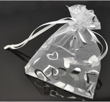 Wholesale 100Pcs 9x12cm White Heart Organza Wedding Gift Bags Pouches Bags&Poucheses