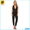 2016 sexy black deep v neck ladies formal jumpsuit