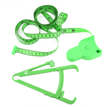 Green printable body tape measure set PVC material body fat caliper promotional gifts body measure tape with your logo
