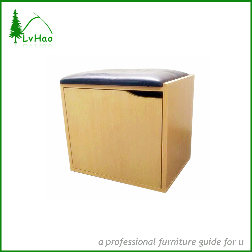 Bedroom PU cushion particle board wood cabinet