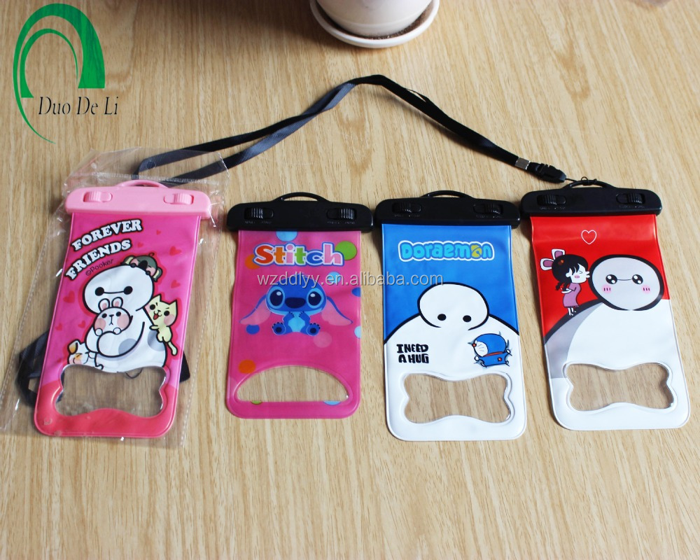 Cartoon printed mobile phone pvc waterproof bag