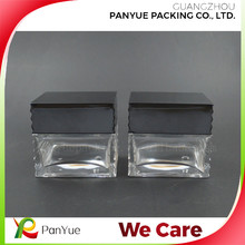 Customize rectangle square 50g 50ml glass cream jar with unique black lid