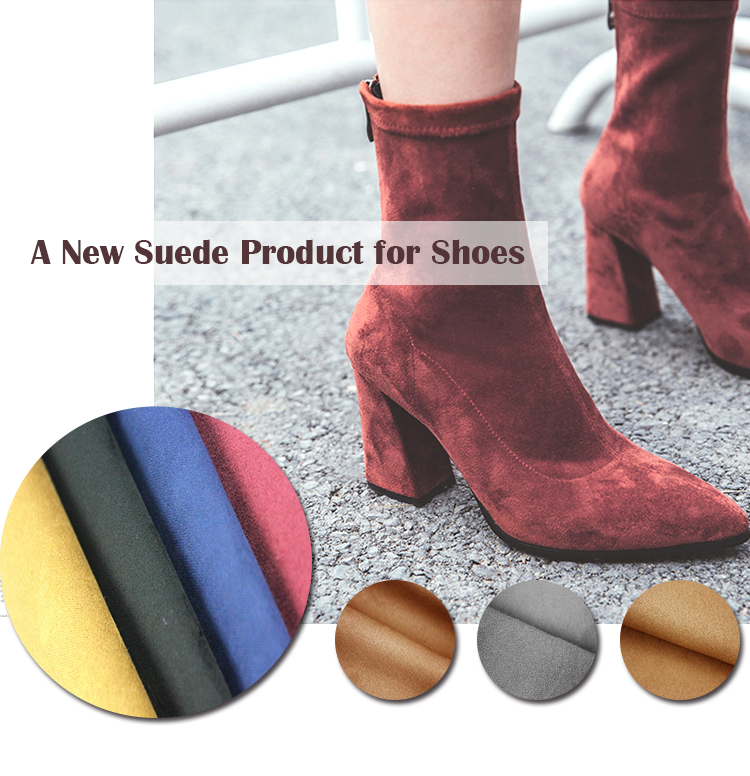 High Quality SGS Approved Woven Plain Synthetic Stretch Microfiber Faux Suede Fabric for Shoes