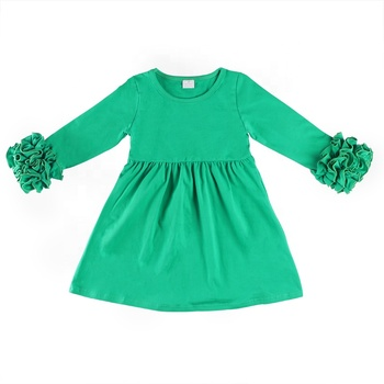 wholesales festival clothes St. Patrick's Day outfit solid color green long sleeve ruffle trimmed dress