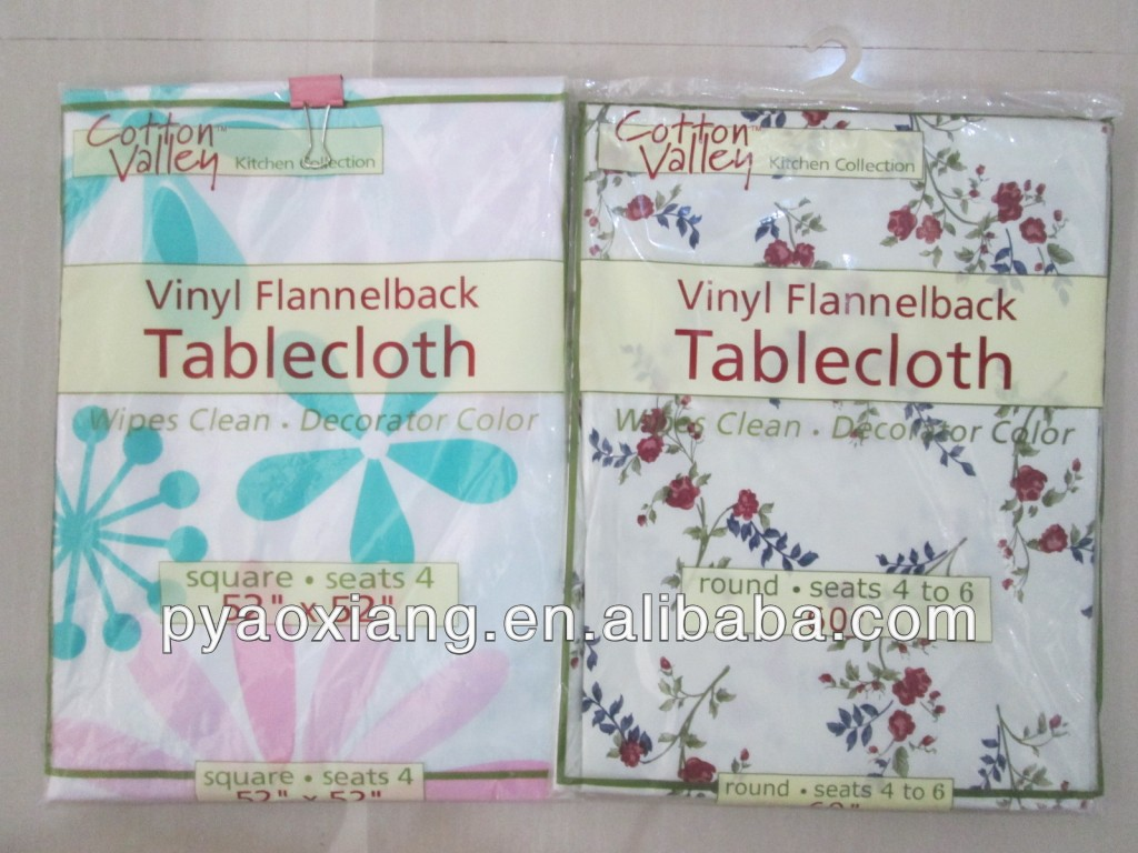 100% PEVA with flannel backed tablecovers