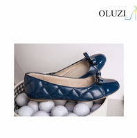 olzp2 geometry print genuine leather upper women shoes flats casusal women leather soles flat shoes