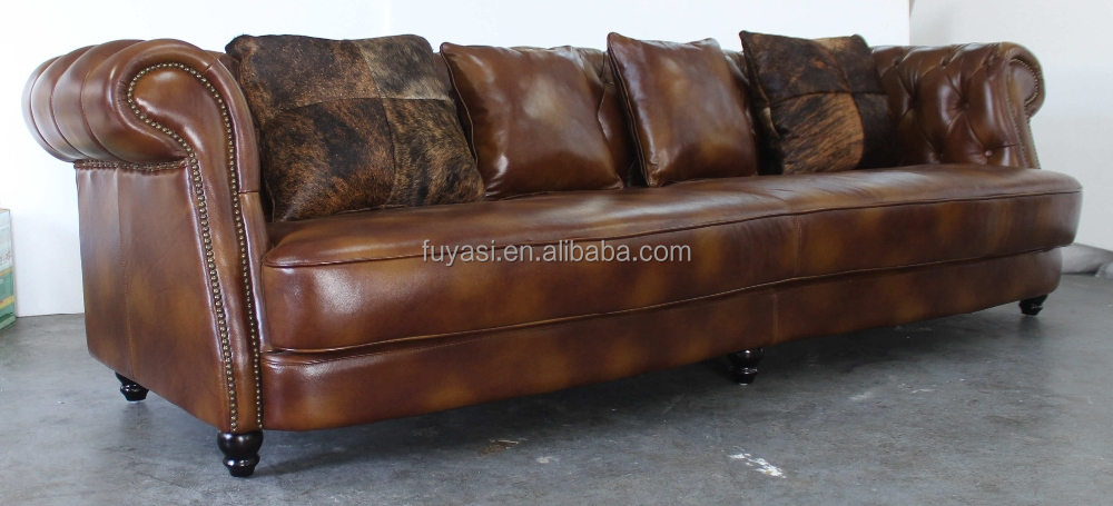 living room long button sofa hotel furniture leather sofa in Poland turkish style furniture YH-272