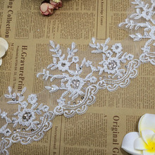Fashion Guipure Embroidery Viscose 13cm Sequin Polyester sewing Flower Bulk bridal lace trim for dress decoration