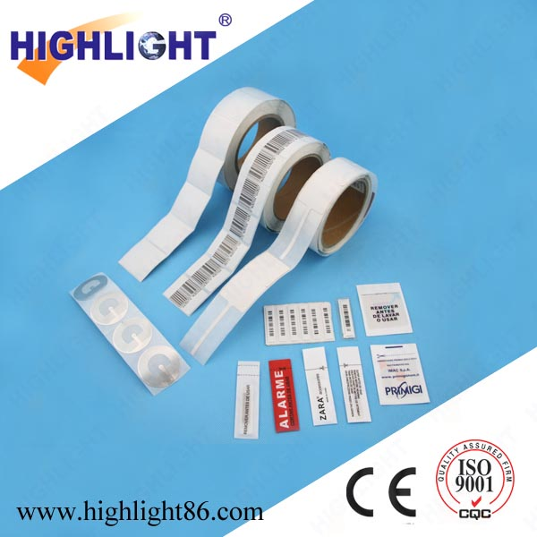 Highlight good quality anti shoplifting accessories security alarm soft RF sticker EAS label