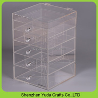 Crystal clear acrylic beauty box with diamond handles 6 tier makeup organizer