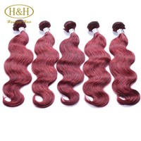 Colorful human hair extensions 3 bundles red brazilian hair weave 100% virgin remy hair