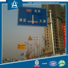 Hot dip galvanized warning led lights traffic sign pole for Egypt