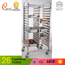Kitchen necessary Equipment stainless steel gn pan trolly cart rack serving trolley