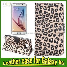 Leopard Pattern wallet card holder Leather Case For S6