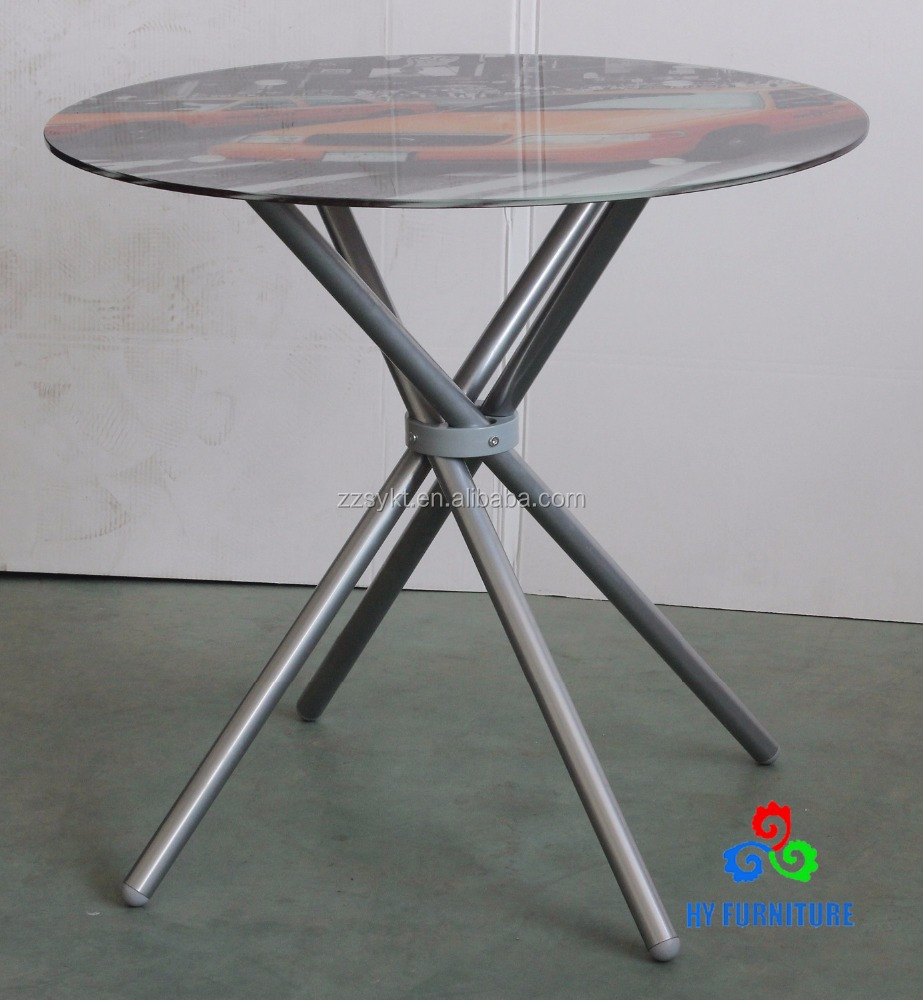 Modern metal leg glass dinner round tables for sale