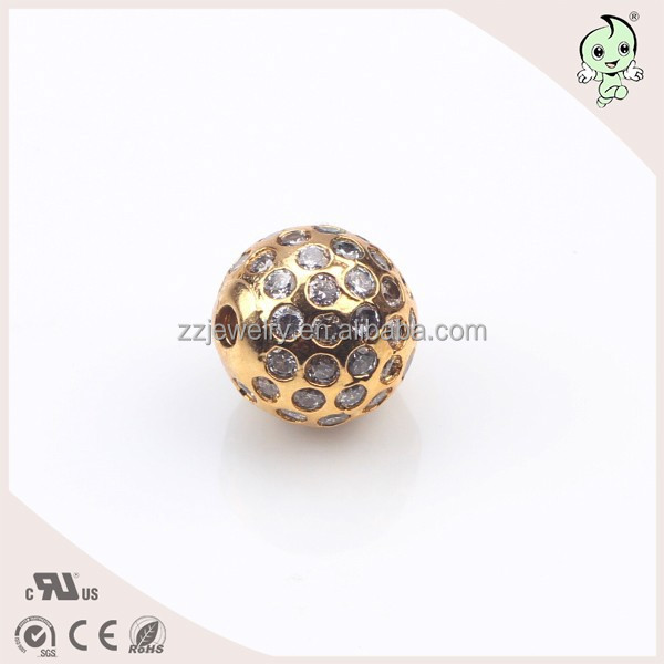 Wholesale 24k Gold Plating CZ Paving 10mm Bead Size And 1.5mm Hole Real 925 Sterling Silver Round Bead