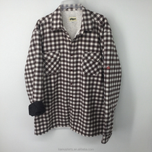 Wholesale Mens Quilted Flannel Shirt Checked Long Sleeve Winter Shirt